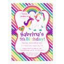 rainbow pony unicorn birthday party invitations