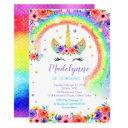 rainbow unicorn birthday invitation black lashes