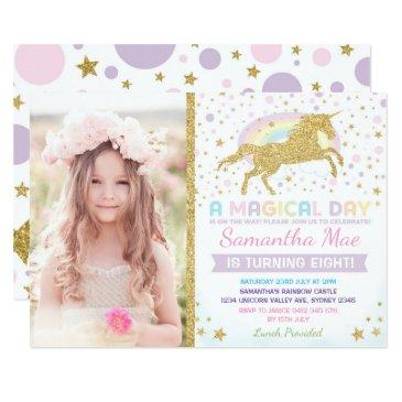 rainbow unicorn birthday invitations confetti stars