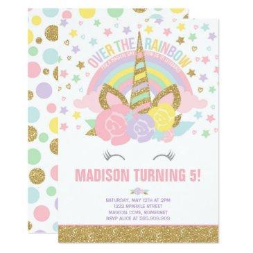 rainbow unicorn birthday  pink gold