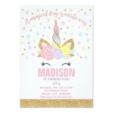 Small Rainbow Unicorn Birthday Invitation Pink Gold Front View