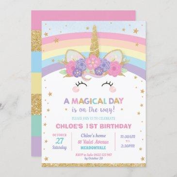 rainbow unicorn birthday party girl invitation