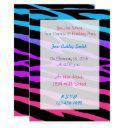 rainbow zebra birthday invitations teen girls party