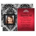 red and black glitter damask photo sweet 16 invitations