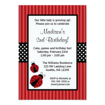 red and black ladybug striped dots birthday party invitation