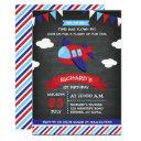 red and blue chalkboard airplane birthday party invitation