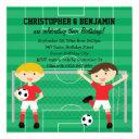 red and white twin boys soccer v2 birthday party invitation