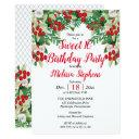 red berries | roses floral sweet 16 birthday party invitation