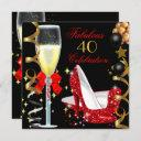 red black gold 40 & fabulous 40th birthday party 2 invitation