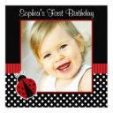 red black ladybug polka dot 1st birthday photo invitations