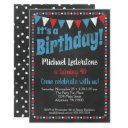 red blue chalkboard birthday invitation