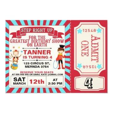 red blue circus ticket birthday invitation