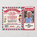red blue circus ticket photo birthday invitation