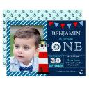 red blue nautical baby boy 1st birthday party invitations