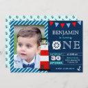 red blue nautical baby boy 1st birthday party invitation