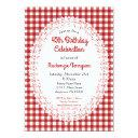 red country gingham birthday party invitations