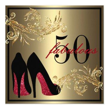 red dancing shoes - fabulous 50th birthday invitations