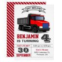 red dump truck kids birthday party invitation