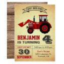 red farm tractor kids birthday party invitation