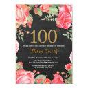 red floral 100th birthday invitation gold glitter
