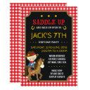 red gingham wild west cowboy birthday invitation