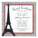 red glam paris themed faux glitter sweet 16 invitation
