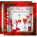 red glamour night cocktails champagne party invitations