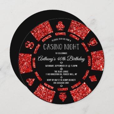 red glitter poker chip casino night party invitation