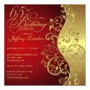 red & gold 65th birthday party invitations