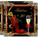 red gold fabulous 30 birthday party invitation