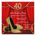 red gold high heel 40th birthday party invitation