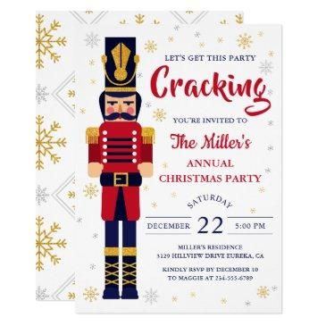 red gold nutcracker christmas party holiday invitation