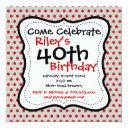 red gray polka dots 40th birthday party invitation