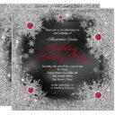 red gray silver snowflake holiday birthday party invitation