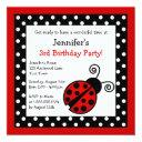 red ladybug birthday - black and white polka dots invitation