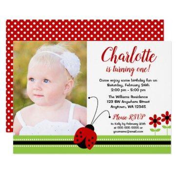 red ladybug girl birthday photo invitations