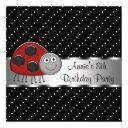 red ladybug girls 8th birthday party invitations