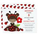 red ladybug girls birthday party invitation