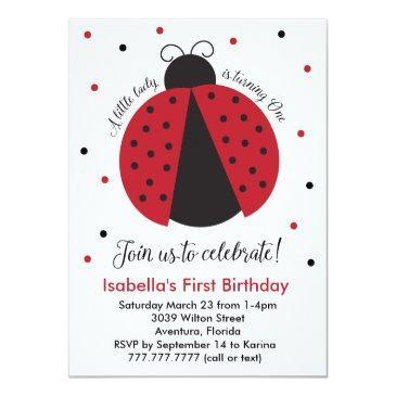 red ladybug girl's first birthday invitation