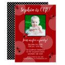 red ladybug polka dot birthday photo invitations
