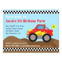 red monster truck birthday party, for kids invitation