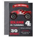 red monster truck kids birthday party invitation