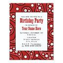 red paisley bandana inspired birthday invitation