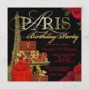 red paris birthday party invitation