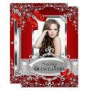 red pearl & silk bow glamour quinceanera invitation
