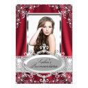 red pearl silk vintage glamour quinceanera invitations