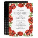 red poppy polka dot birthday brunch invitations