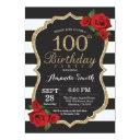 red rose 100th birthday invitation gold glitter