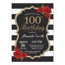 red rose 100th birthday invitations gold glitter