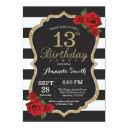 red rose 13th birthday invitation gold glitter
